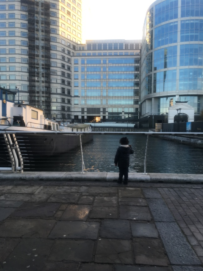 LO enjoying the view of Canary Wharf