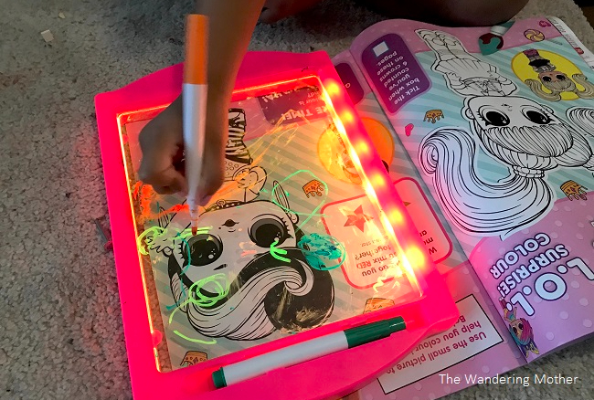 The Wandering Mother Blog - Review: GlowArt kids light up drawing board